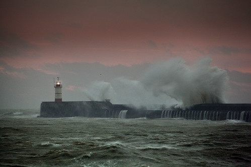 england lighthouse storm water sunrise sussex waves break wave east newhaven