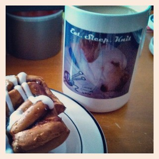What I'd like to do on this #snow day #eatsleepknit #coffee #dogstagram #breakfast #knitstagram