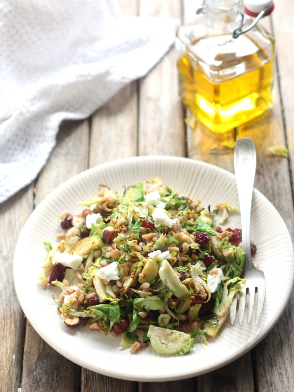 Brussels Sprouts and Farro Salad with Hazelnuts and Goat Cheese