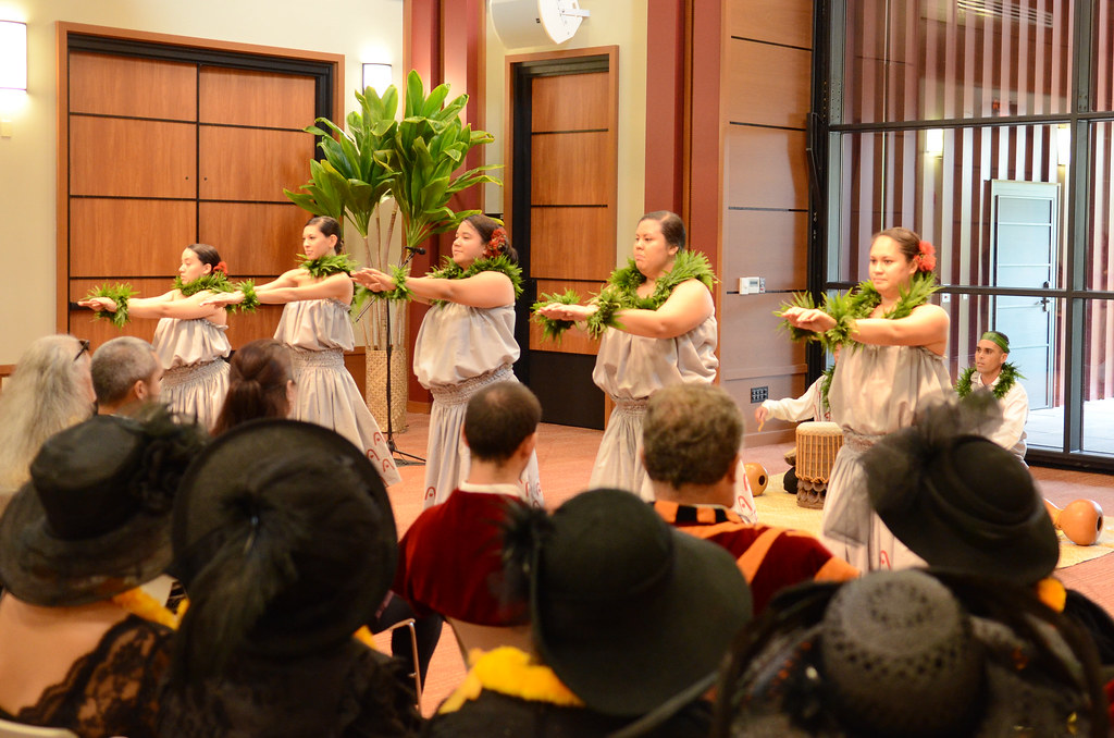 <p>Under the tutelage of kumu hula and facultly Kalena Silva and Kekoa Harman, Ka Haka ʻUla O Keʻelikōlani's students perform dances honoring Princess Ruth Keanolani Kanāhoahoa Keʻelikōlani at the grand opening of Haleʻōlelo.</p>