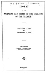 Digest of the Solicitor of the Treasury