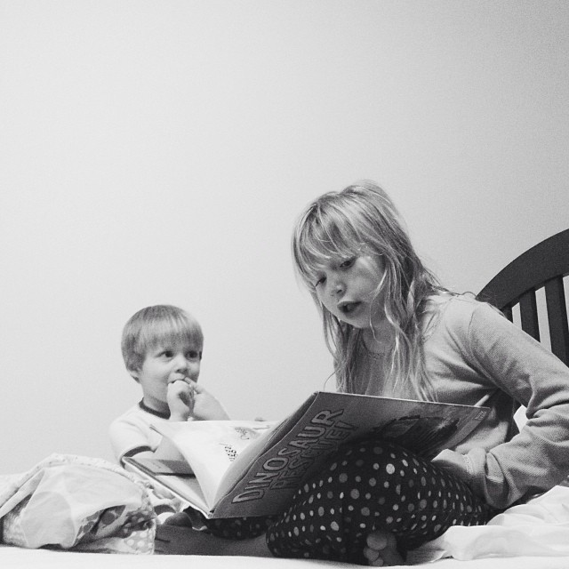 She reads to him using lots of funny voices  #365grateful #reading #brother #sister #love #bedtime