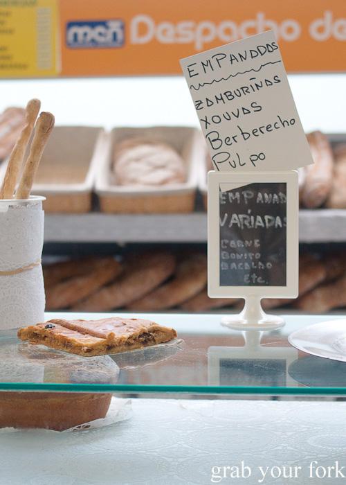 Galician empanada at Plaza de Lugo Market in A Coruna, Galicia, Spain