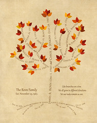 Family tree with names art beige brown present day autumn leaves roots divorce dates