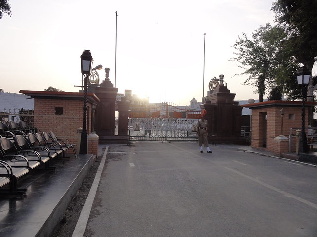 The place looked deserted after the flag lowering ceremony, Wagah Border