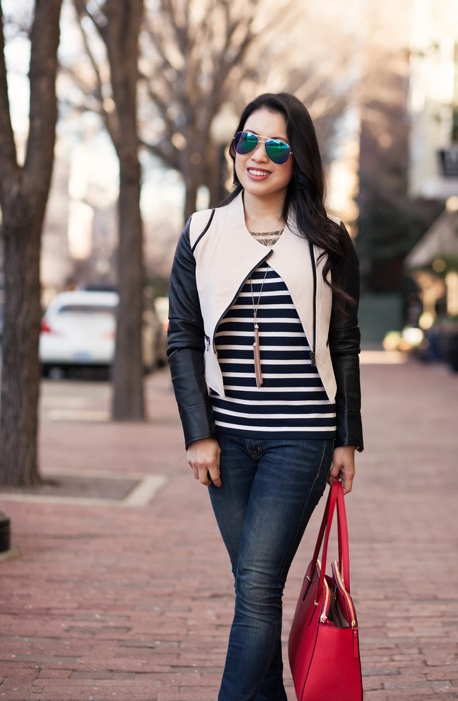 cute & little blog | sheinside contrast leather sleeve moto jacket, lace yoke striped shirt, skinny jeans, kate spade elissa red bag | spring edgy casual outfit