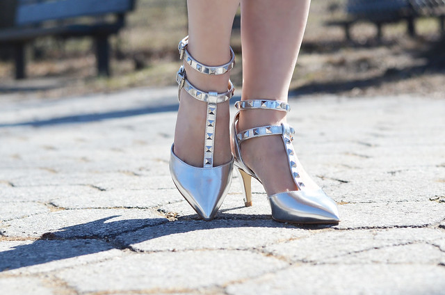 Renvy Gilt Alexis metallic silver studded heels