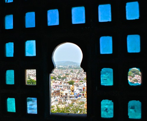 stained glass window with a view out of Udaipur's city palace