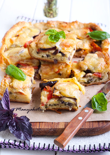 Eggplant, tomato and mozzarella tart,
