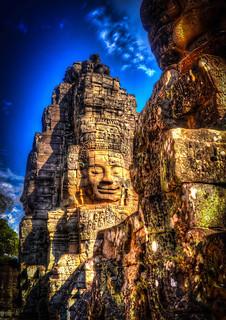 Image of Angkor Wat near Siem Reap. ankorarchaeologicalpark ankorthom bayontemple bodhisattvaofcompassion cambodia facecarvings holidays lokeshvara mangojouneys smiles statues topazlabs