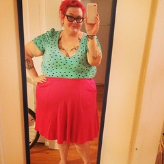 Mint green, hot pink and polka dots. Skirt is a thrift I cropped and it has pockets. :) #ootd #diy #instafashion
