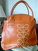 Orla Kiely Hand Stitched Stem Large Leather Zip Orange Holdall Bag by migglemuggle