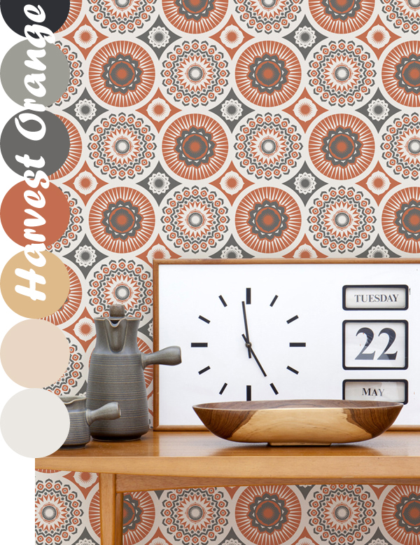 Mini Moderns, Darjeeling Wallpaper in Harvest Orange | Emma Lamb