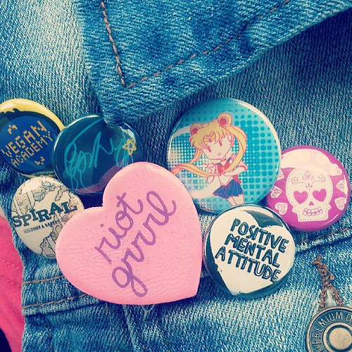 This side of my vest is more varied -- feminism and veganism and Sailor Moon and Scott Pilgrim.