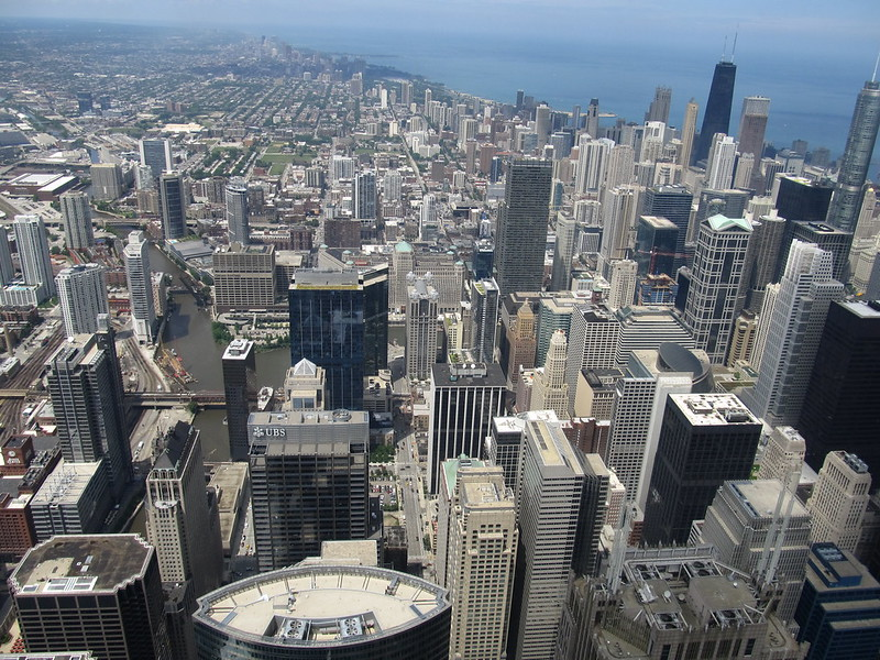 Looking North from Willis Tower Skydeck, Chicago, Illinois