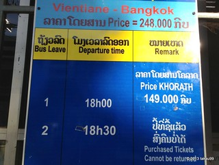 Timetable of International bus from Vientiane to Bangkok