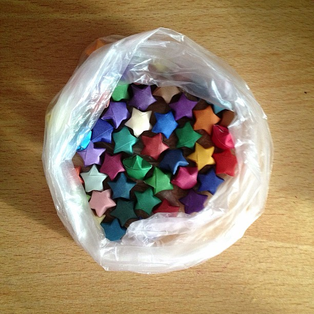 The ones I thought may go with my pastel coloured stars #origamiluckystars #luckystars #stars