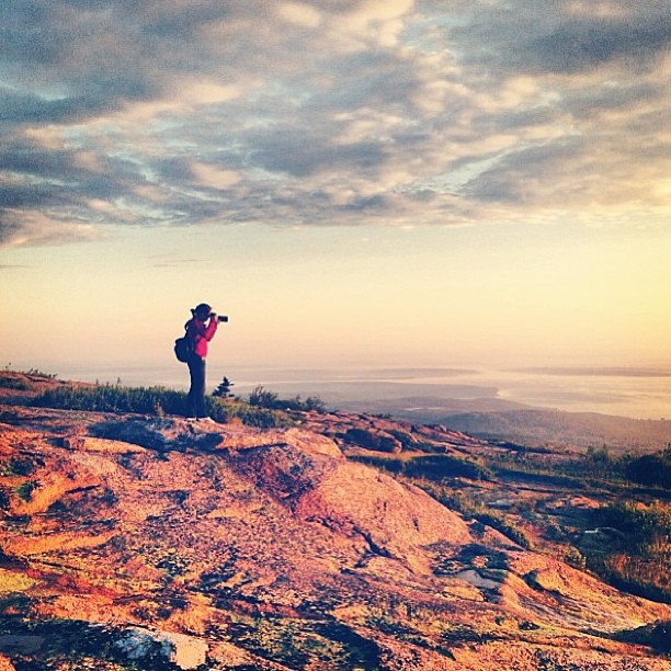 I'm always trying to get the shot - Taken by My Sister #cadillacmountain #sunrise #maine #acadia