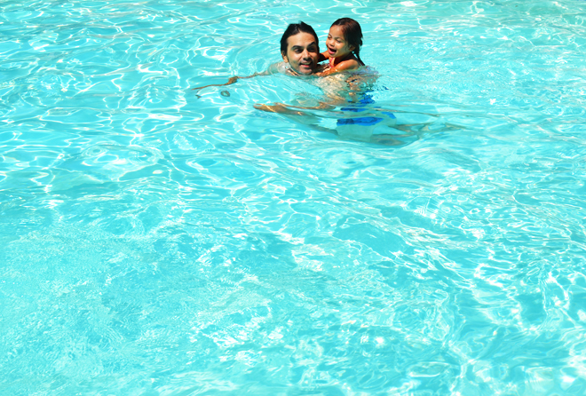 brave's hotel, swimming, pajama party