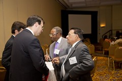 Attendees networking.
