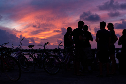 sunset beer island hawaii pier unitedstates bicycles midway atoll