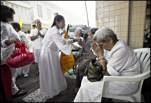 Ma Song blessing some of Phuket's older generation