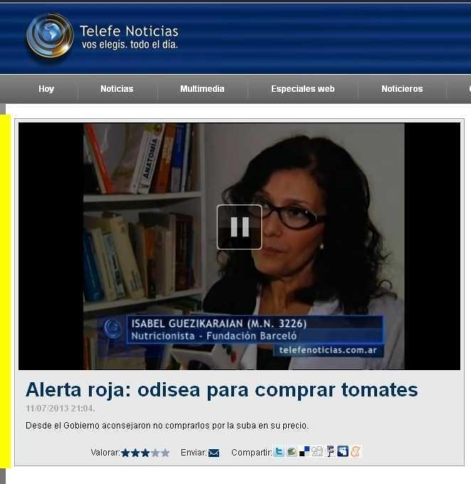 Site Telefe Noticias - Lic. Norma Guezikaraian - 11.07.13