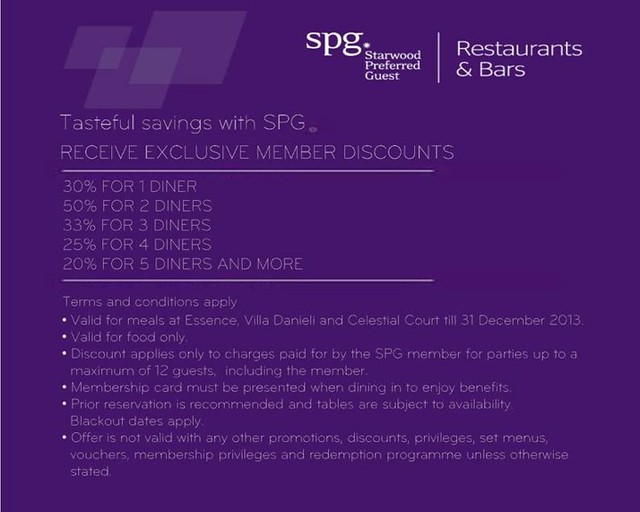 SPG Restaurants & Bars Discounts in Nov & Dec 2013