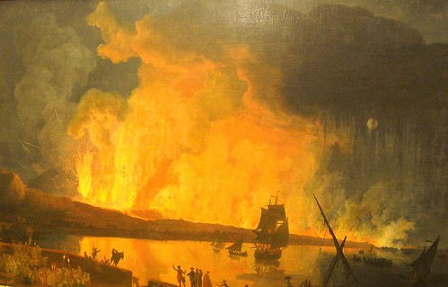 """Vesuvius' eruption"" (1782) by Pierre-Jacques Volaire (Toulon 1729-Naples 1799) - Naples Capodimonte Museum, now at ""The pursuit of Sir William Hamilton"" - Exhibition by Mark Dion - Villa Pignatelli Museum in Naples (until February 2, 2014)"