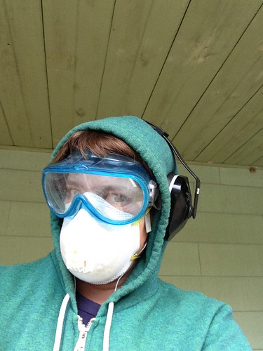 sanding the porch