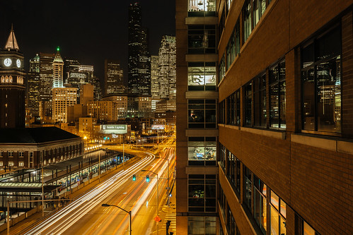 seattle skyline cityscape gettyimages columbiatower kingststation traffic longexposure smithtower buildings lights seattlelighting windows reflections canon morning 4thavenue pacificnorthwest city wakingup office canoneos5dmarkiii sigma35mmf14dghsmart johnwestrock washington