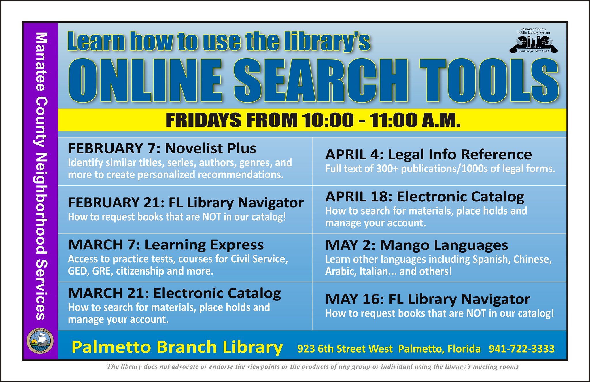 online search tools a series of classes the palmetto
