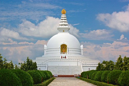 World Peace Pagoda at Lumbini, closer, with two Buddhist monks
