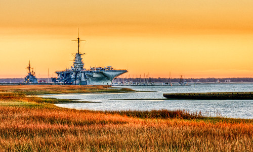sunset water bay harbor aircraft southcarolina charleston yorktown marsh aircraftcarrier usnavy charlestonsc carrier hdr ussyorktown charlestonharbor patriotpoint