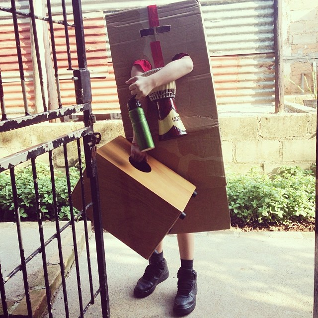 Yes, he just went to school dressed like this. #robot #senseofhumor