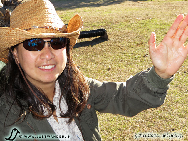 PIC: Maya of JustWander.in results in sticky hands after licks from a camel at Giraffe Ranch