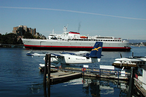 The Coho Ferry and Floatplanes operate out of the Inner Harbour in Victoria, Vancouver Island, British Columbia