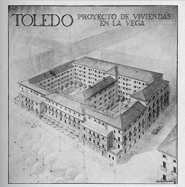 Recreacción en diujo del desarrollo de la Avenida de la Reconquista. Hacia 1940
