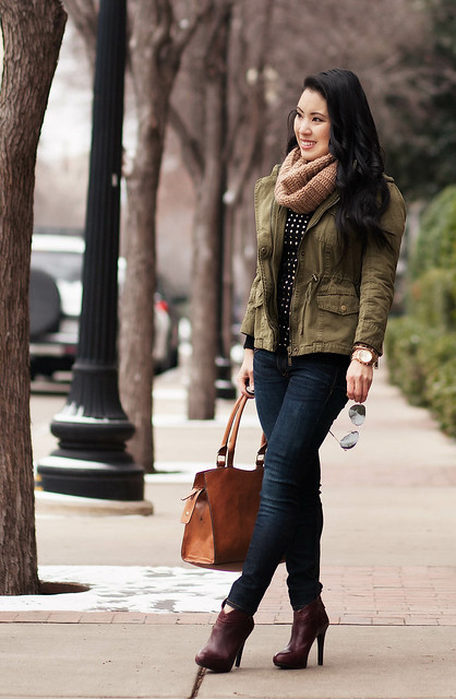 Cute u0026 little blog | fall winter layering outfit | tan cowl scarf utility jacket black gold ...