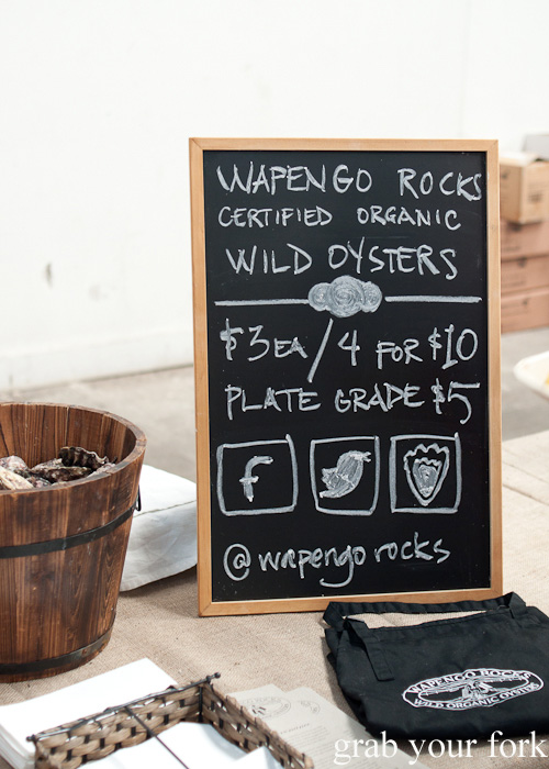 Wapengo Rocks certified organic wild oysters at the Rootstock Sydney 2014 Wine Festival