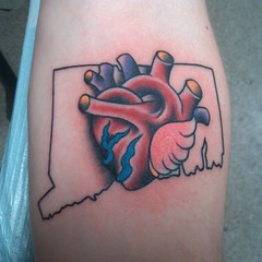 Tattoo I did earlier. The state is Connecticut. This dude was rad. #tattoos #heart #connecticut #traditional #bobbyrotten #laughinghyena #dc