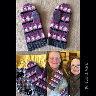Secret mitten exchange at Purl Jam! I got Janice's name and knew I had to knit pink gnome mittens for her!  #piccollage