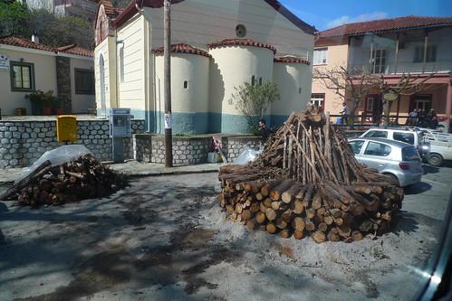 Carnival Bonfire Preparation - Sparta, Greece