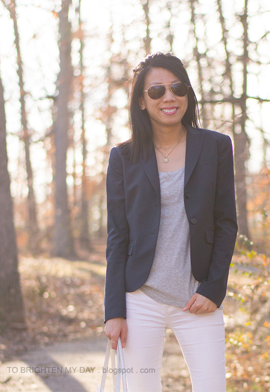 navy blazer, gray tee, white jeans, layered necklaces
