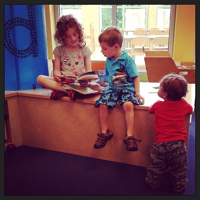 Rainy day = library!  #stevensonpartyof5