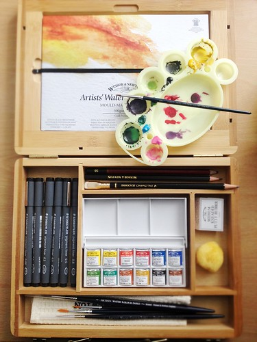 Winston & Newton Watercolour Half-Pan Bamboo Box Set