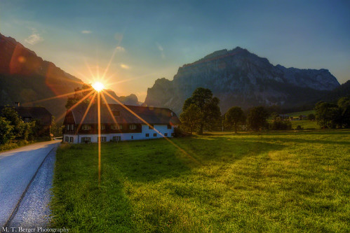 sunset sun mountains beautiful landscape austria europe lensflare styria 1635mm tragös mtberger