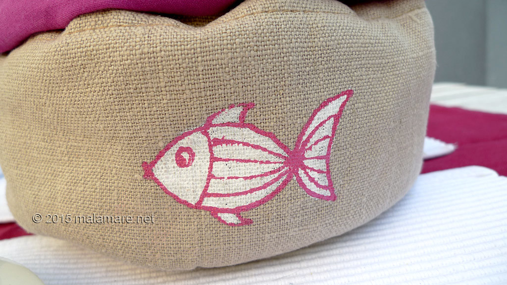 Handmade linen bread basket hand drawn fish
