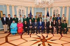 U.S. Secretary of State John Kerry and Special Representative for Afghanistan and Pakistan Dan Feldman pose for a photo with students from Pakistan's Army Public School and Degree College in Peshawar, at the U.S. Department of State in Washington, D.C., on July 27, 2015. The students are participating in a State Department International Visitor Leadership Program. [State Department photo/ Public Domain]
