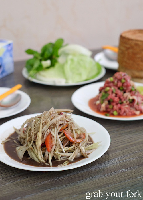 Lao green papaya salad at Phounguen Lao and Thai Restaurant, Cabramatta